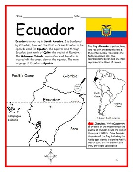 ECUADOR - Printable handouts with map and flag