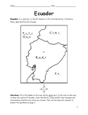 Ecuador - Printable map to color. Fill in the blanks.