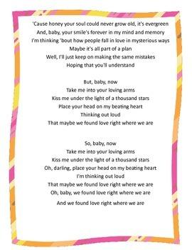 """Ed Sheeran's """"Thinking Out Loud"""":  Close Reading Song Lyrics"""