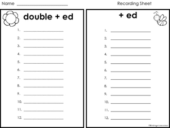 Ed Word Sort (Spelling)  Double +ed and +ed