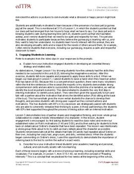 EdTPA Elem. Task 2: Planning Commentary