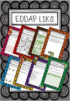 Eddap Liks arbeidsark, med og uten farger, Roald Dahl
