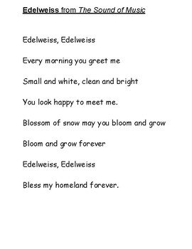 Edelweiss Poem from The Sound of Music