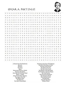 Edgar A. Poe's Tales Word Search Puzzle