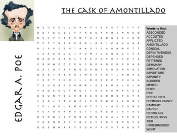 "Edgar A. Poe's ""The Cask Of Amontillado"" Word Search"