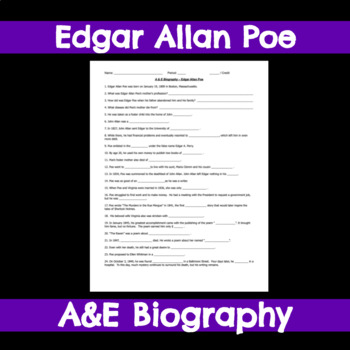 Edgar Allan Poe  - A&E Biography Fill-In-The-Blank Worksheet
