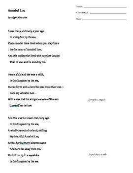"""Edgar Allan Poe """"Annabel Lee"""" Mini Lesson"""