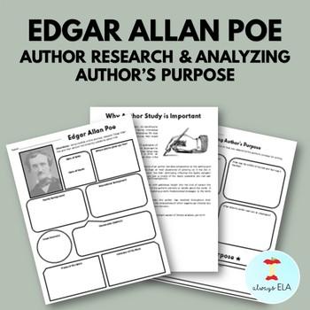 Edgar Allan Poe - Author Study Worksheet, Author's Purpose, Author Research, Bio