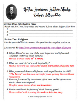 edgar allan poe s the raven worksheet answer key breadandhearth. Black Bedroom Furniture Sets. Home Design Ideas