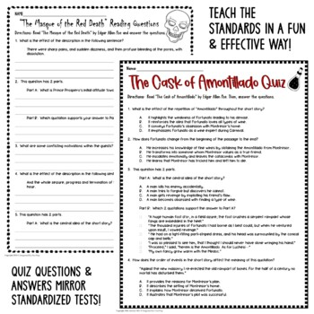 Edgar Allan Poe Lesson BUNDLE: Common Core Reading Test Prep (6 Texts)