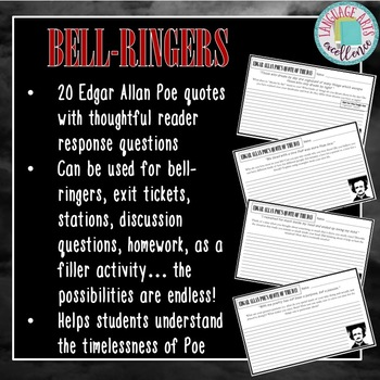 Edgar Allan Poe Bell Ringer Journal Prompts By Language Arts Excellence