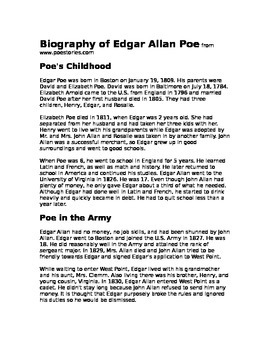 Edgar Allan Poe Biography Quiz Read Aloud - Fill in the Blanks Listening Skills
