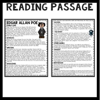 Edgar Allan Poe Biography Reading Comprehension Worksheet | TpT