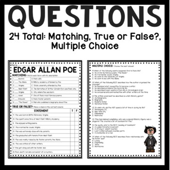edgar allan poe biography reading comprehension worksheet tpt. Black Bedroom Furniture Sets. Home Design Ideas