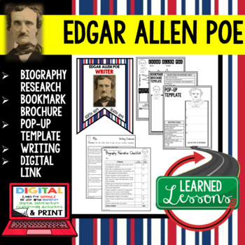 Edgar Allan Poe Biography Research, Bookmark Brochure, Pop-Up, Writing, Google