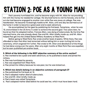 Edgar Allan Poe Biography Stations (Reading Comprehension and Objective Summary)