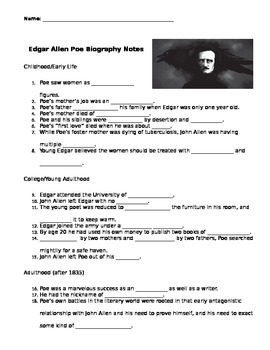 edgar allan poe biography video guided notes key by catzog tpt. Black Bedroom Furniture Sets. Home Design Ideas