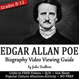 Edgar Allan Poe Biography Video Viewing Guide, Printable and Digital