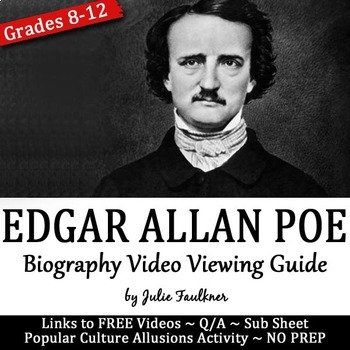 Edgar Allan Poe Biography Video Viewing Guide with Popular