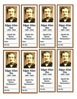 Edgar Allan Poe Bookmarks (Free!)