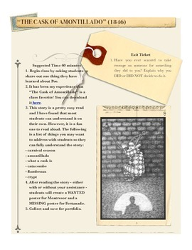 Edgar Allan Poe Cask of Amontillado Lesson Plan