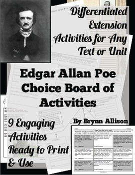 Edgar Allan Poe Choice Board of Activities - Common Core Aligned, Differentiated