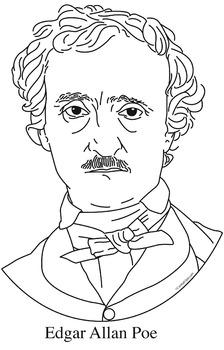 Edgar Allan Poe Clip Art, Coloring Page, or Mini-Poster