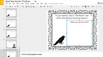 Edgar Allan Poe Digital Task Cards Bundle (Google Drive Edition)
