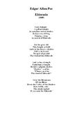 E. A. Poe: ELDORADO a musical score