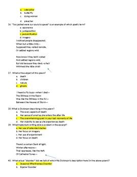 Edgar Allan Poe, Emily Dickinson & Walt Whitman Test KEY