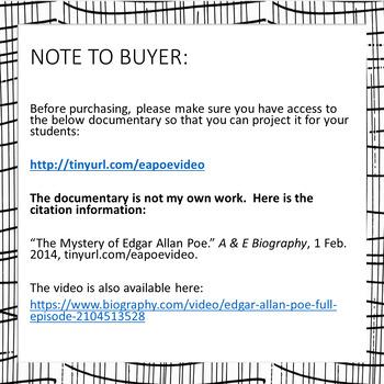 Edgar Allan Poe Questions for High-Interest A & E Biography Video (1994)