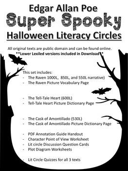 Edgar Allan Poe Literacy Circles (With Lexiled Texts)