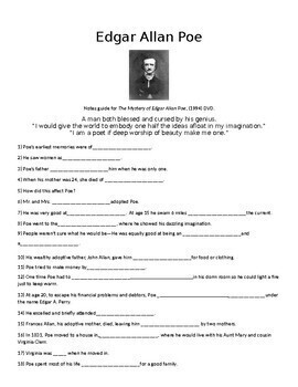 Edgar Allan Poe Notes Guide With Answers/ Free A & E documentary