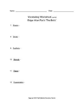 Edgar Allan Poe The Bells Vocabulary Packet