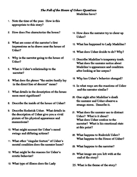 """Edgar Allan Poe: """"The Fall of the House of Usher"""" Questions"""