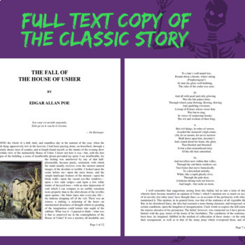 """Edgar Allan Poe, """"The Fall of the House of Usher"""" Worksheet and Printable Text"""