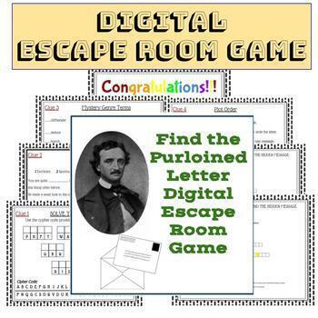 """Edgar Allan Poe -""""The Purloined Letter""""-One-Act Play Script and Escape Room Game"""
