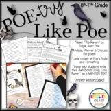 "Edgar Allan Poe, ""The Raven"", Poetry Like Poe, Poetry Analysis, Poetry Writing"