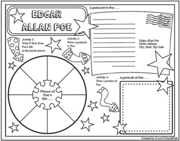 Edgar Allan Poe Timeline Poster Acrostic Poem Activity with Reading Passage