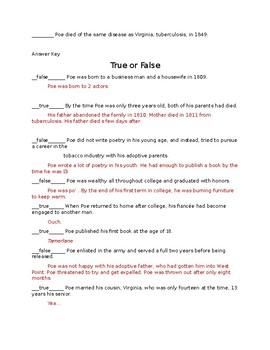 Edgar Allan Poe True or False quiz