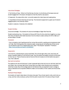 Edgar Allan Poe Two Week Lesson Plan