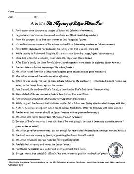 Edgar Allan Poe Video Guide - A & E's The Mystery of Edgar Allan Poe 1994