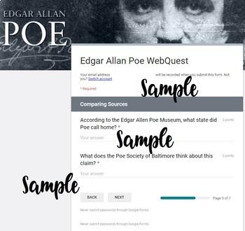 Edgar Allan Poe WebQuest *Digital* *Google Form*