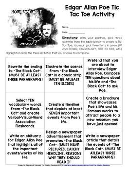 "Edgar Allan Poe and ""The Black Cat"" TIC TAC TOE Activity"