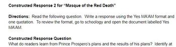 "Edgar Allan Poe's ""Masque of the Red Death"" Constructed Responses"