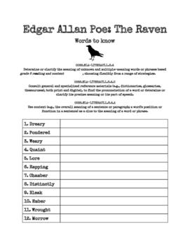 Edgar Allan Poe's The Raven - Pre Reading Word Attack