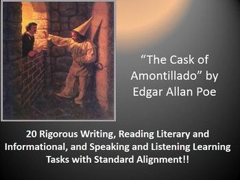 "Edgar Allan Poe's ""The Cask of Amontillado"" – 20 Common Core Learning Tasks!!"
