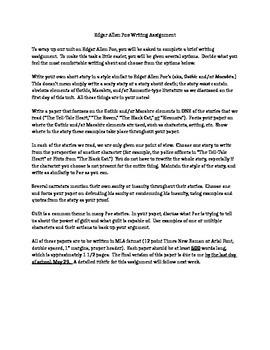 Edgar Allen Poe Final Writing Assignment