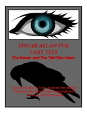 Edgar Allen Poe Unit Test w/ The Raven and Tell-Tale Heart
