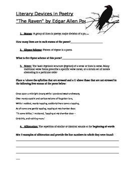 Edgar Allen Poe's the Raven: Literary Devices worksheet